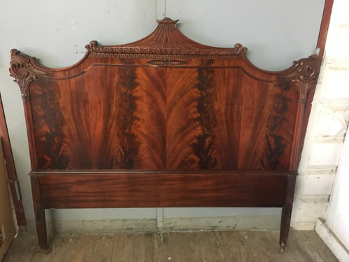 antique full size flame mahogany headboard - forgotten furniture