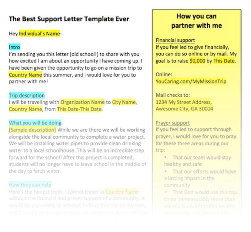 Missions trip support letter poemsrom the best support letter template ever altavistaventures Choice Image