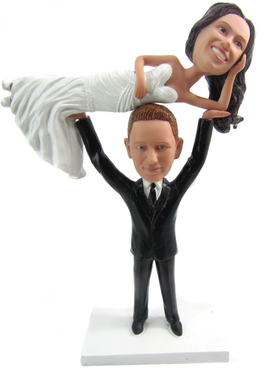 Weightlifter wedding cake topper