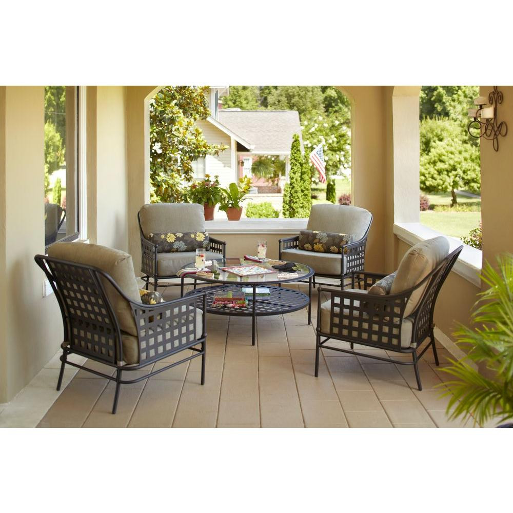 hampton bay lynnfield 4 piece patio chat set chairs only