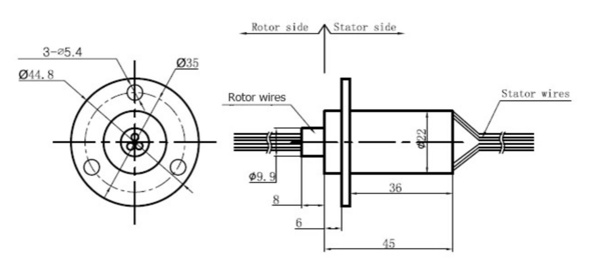Wind Generator Slip Ring 3 Wire 30 Amp Per Conductor