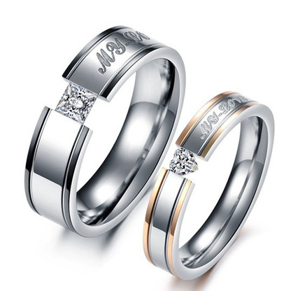 His And Hers Promise Stainless Steel Ring Sets AngelSale