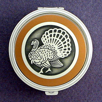 Convenient Travel-Sized Pill Box with Turkey Design.