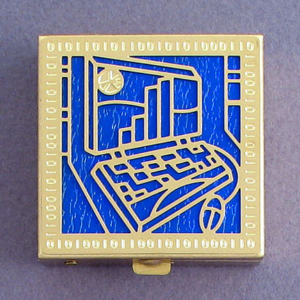 Gold and Blue Personalized Computer Pill Box