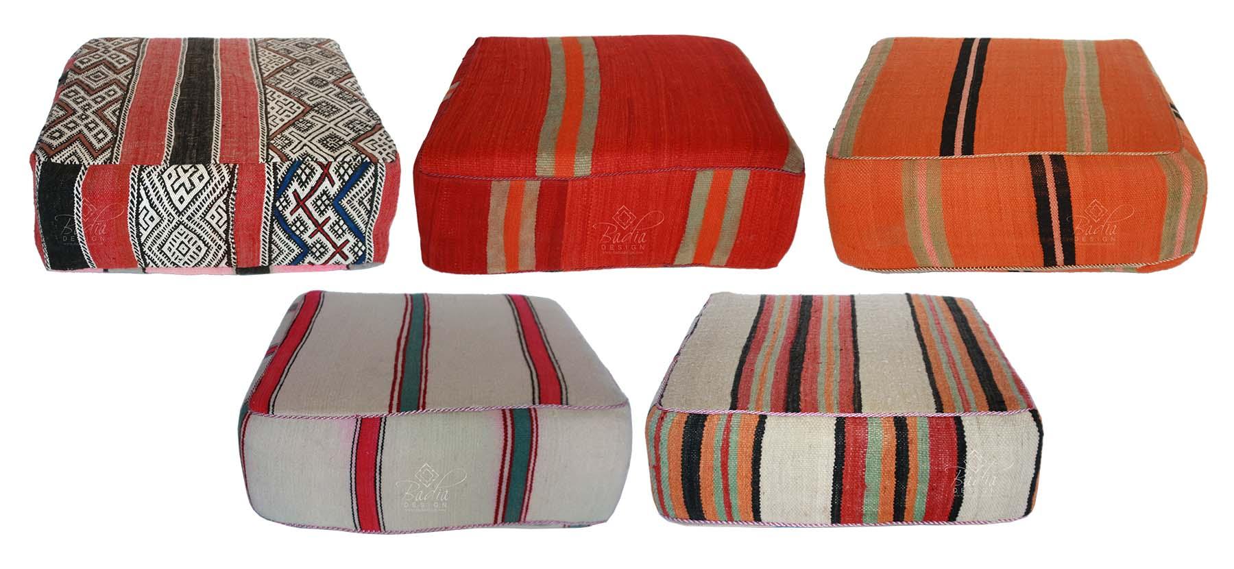 moroccan square shaped kilim floor cushion from badia design inc
