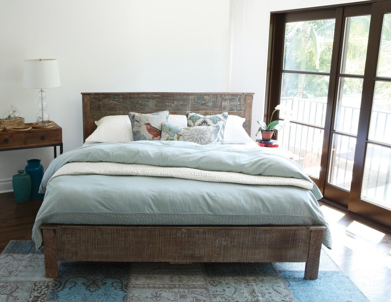 Hampton Rustic Teak Wood California King Bed Frame Zin Home