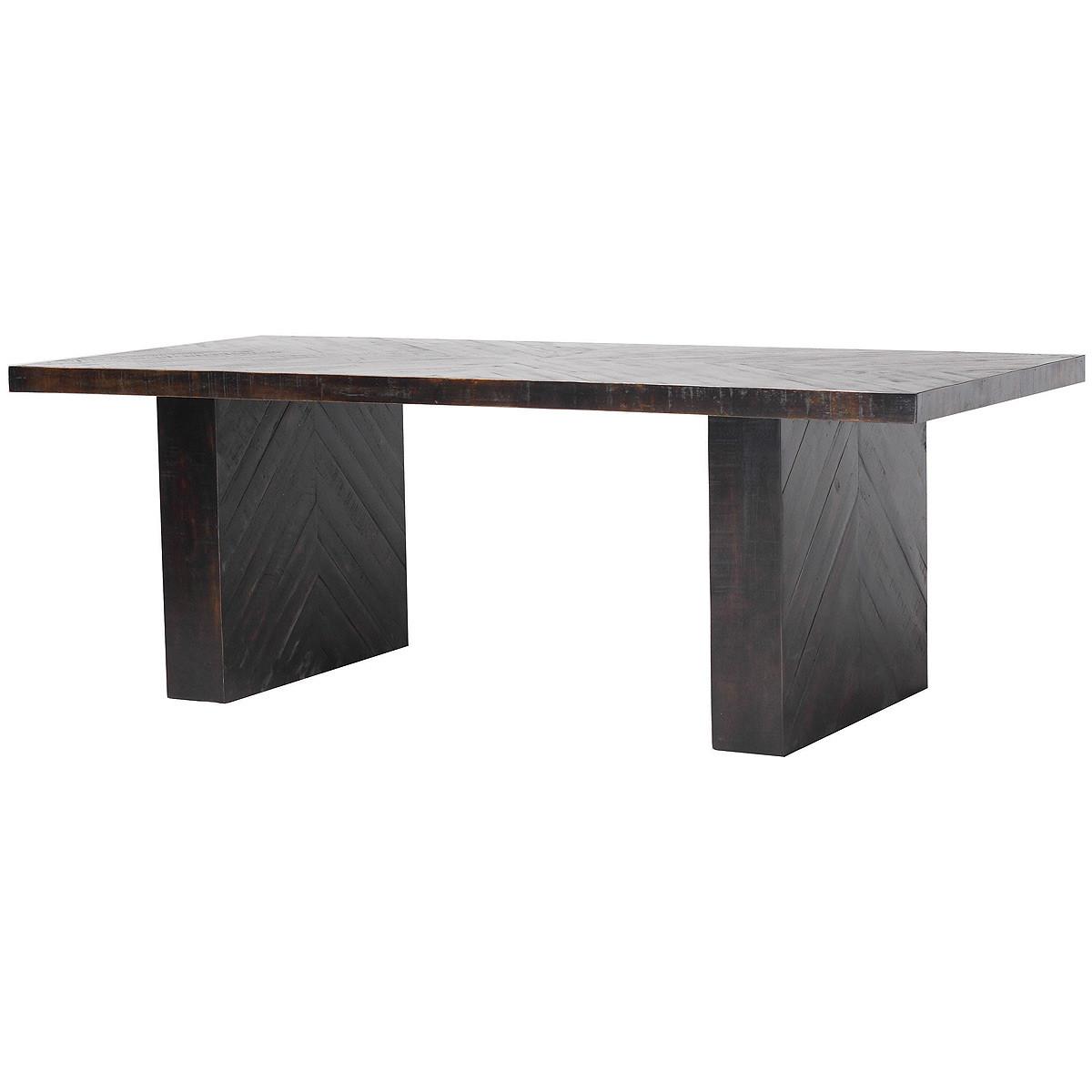 Suki Rustic Black Wood Double Pedestal Dining Table Zin Home
