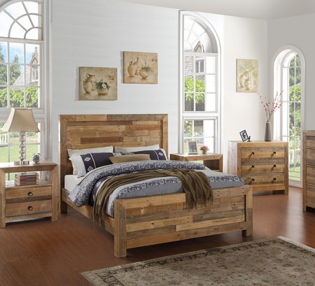 Angora Natural Reclaimed Wood Queen Platform Bed Frame