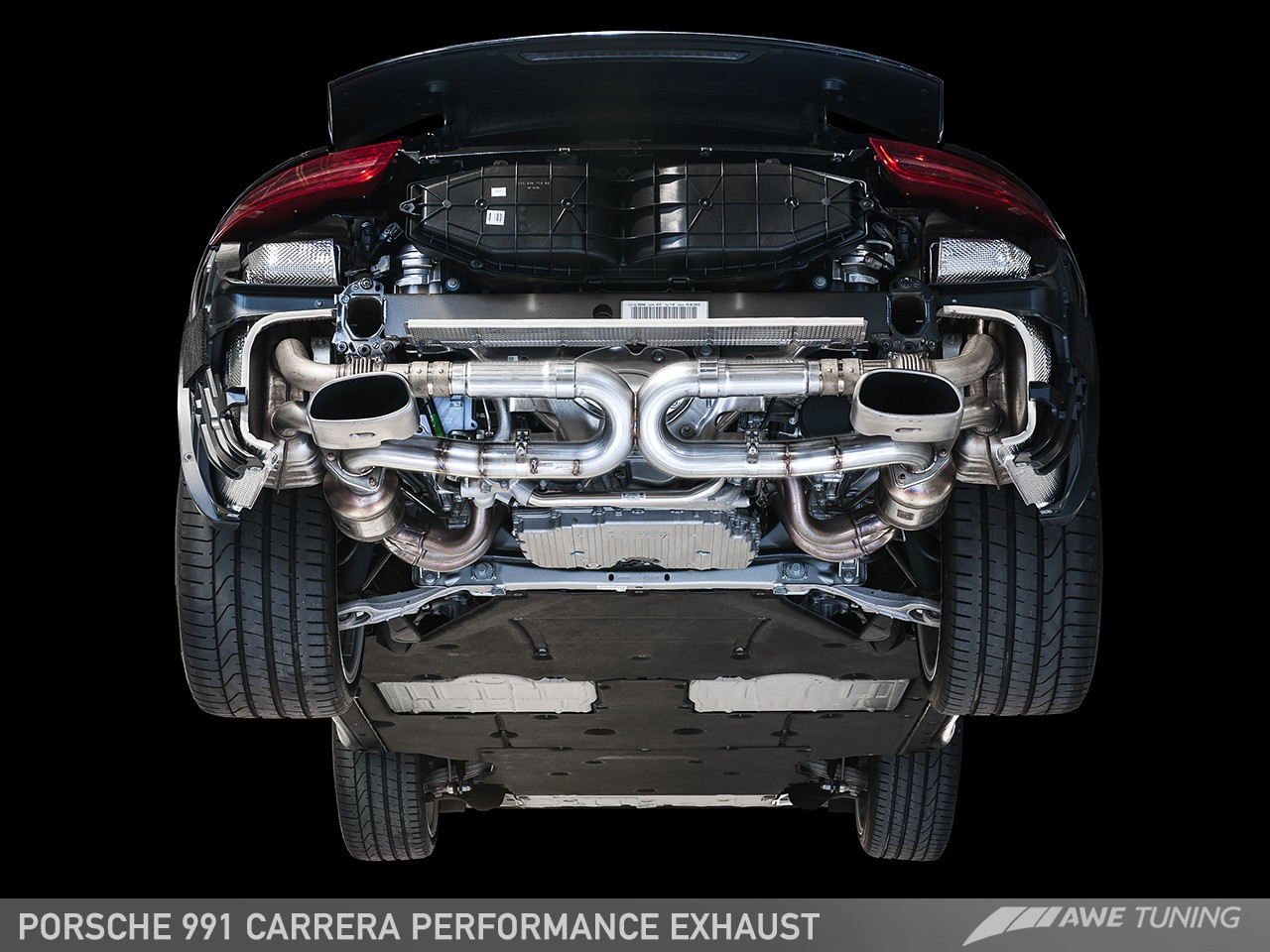 awe tuning performance exhaust for porsche 911 carrera 991 use stock tips