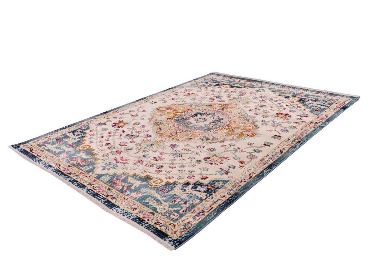 tapis viki blanc bleu 80cm x 150cm