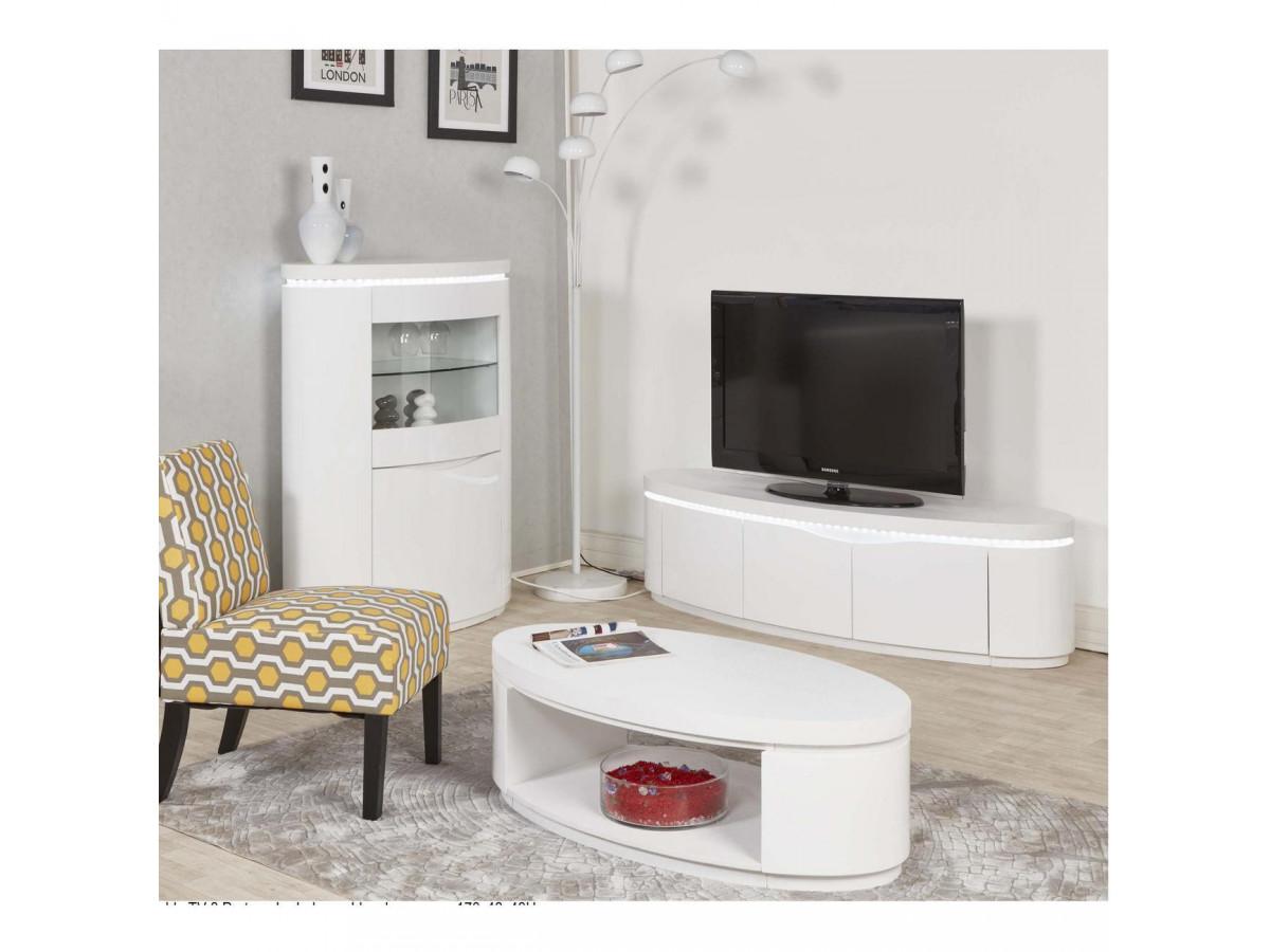 meuble tv 170 cm 3 portes ellipse blanc