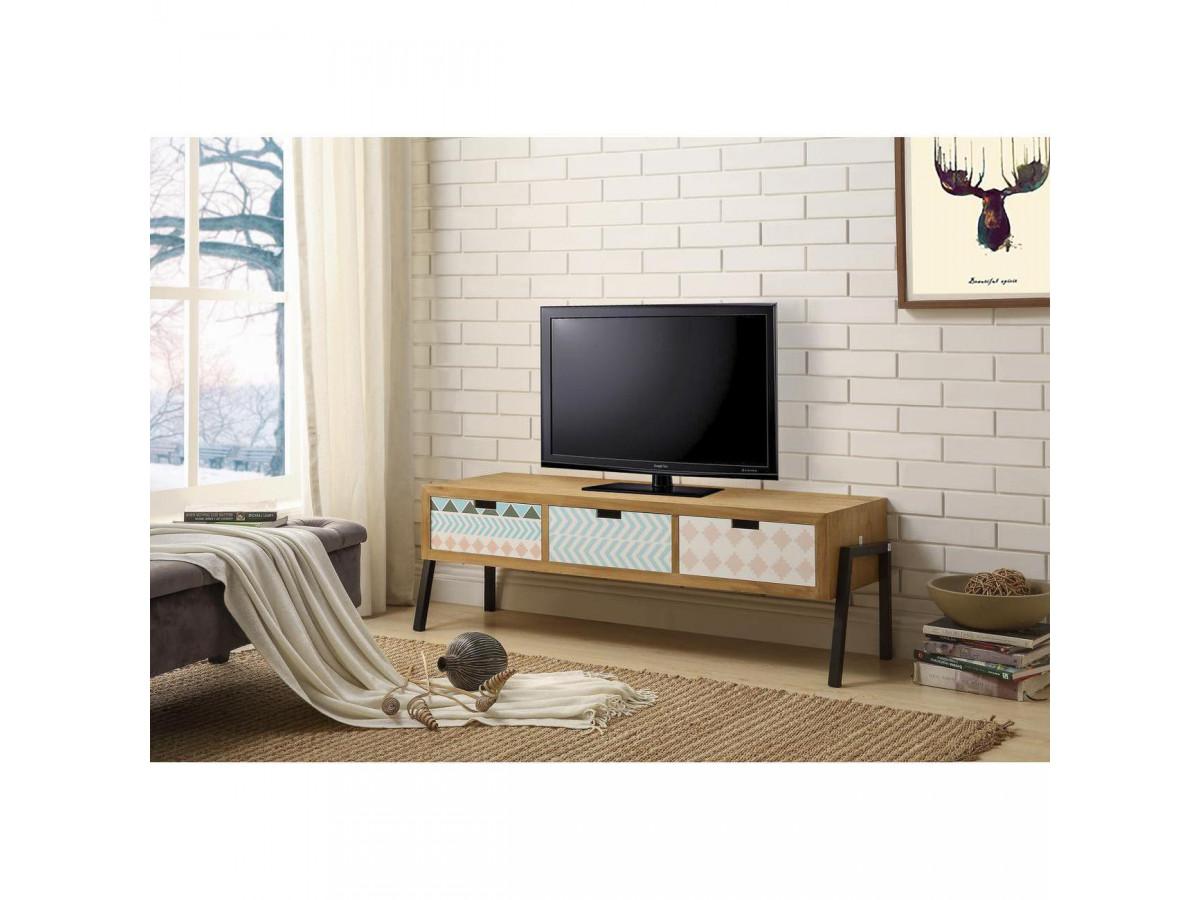 meuble tv 120cm design en bois meridia bois
