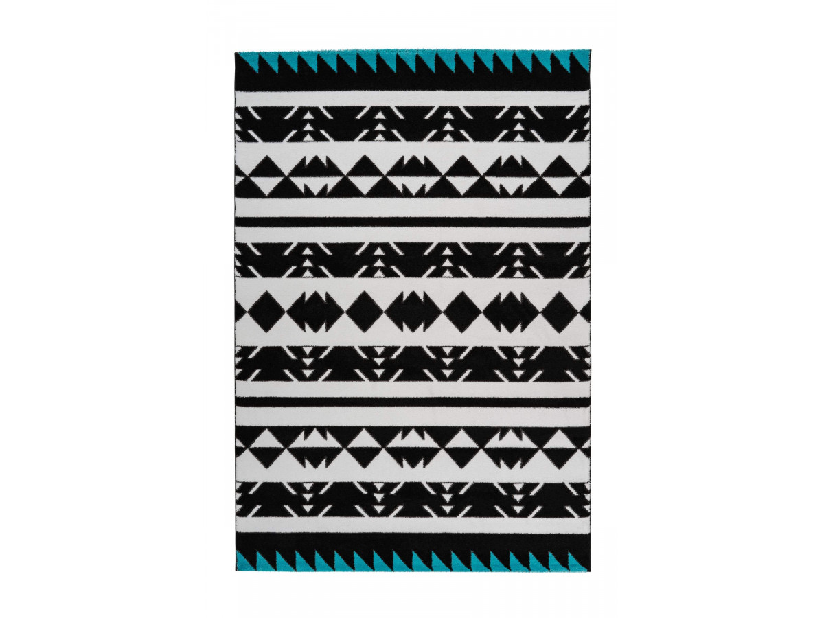 tapis oman noir blanc turquoise 200cm x 290cm