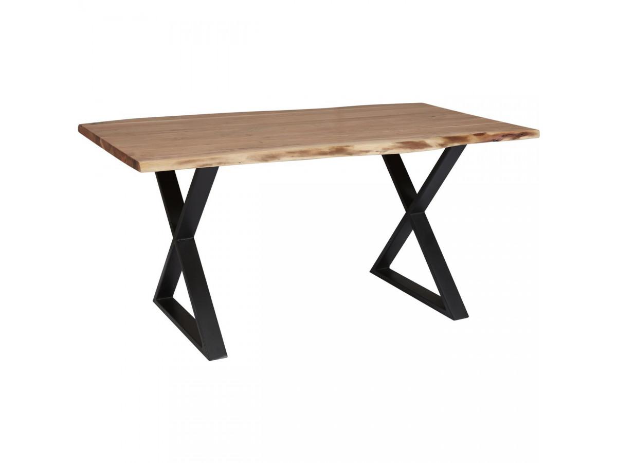 table 160 cm awa bois acacia massif et pieds en croix metal noir
