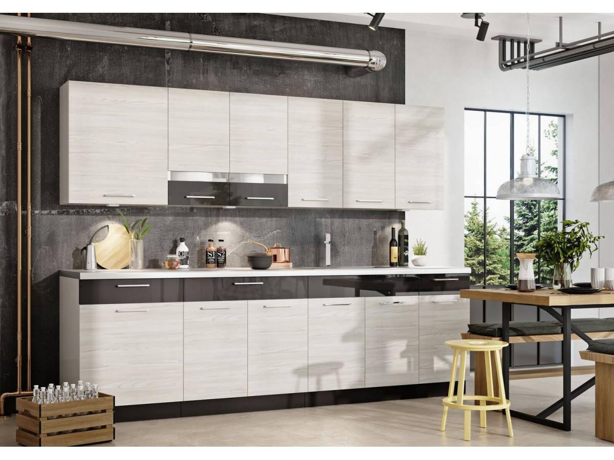 cuisine complete kario 260 cm bois blanchie et anthracite brillant