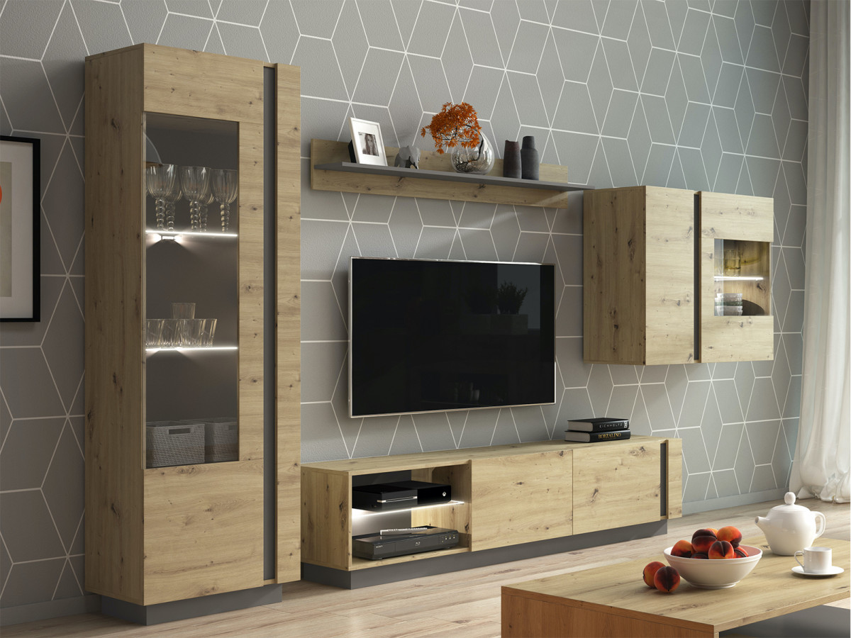 meuble tv 188 cm arcoma chene et gris