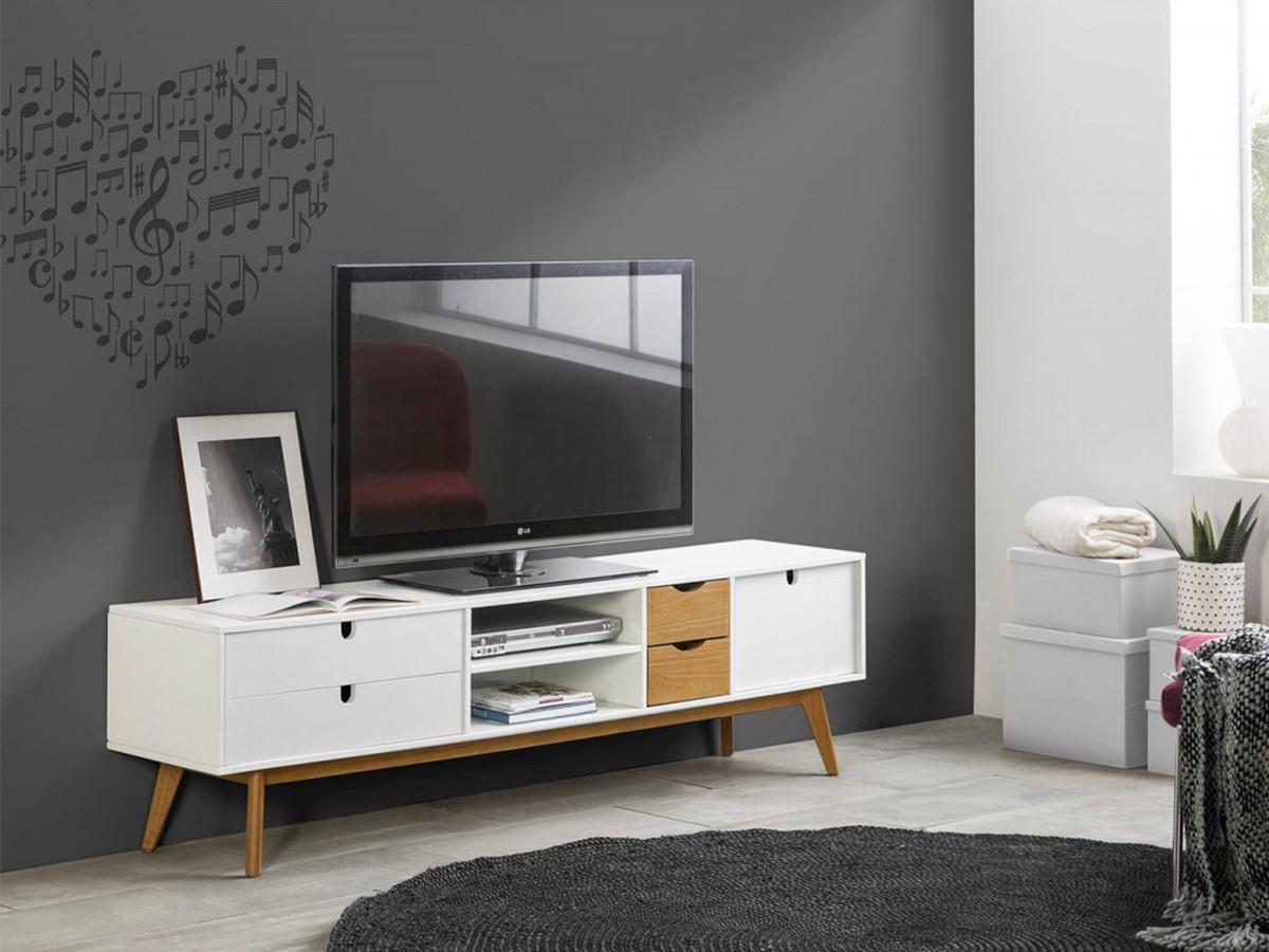 meuble tv 180 cm nils blanc et bois clair bobochic