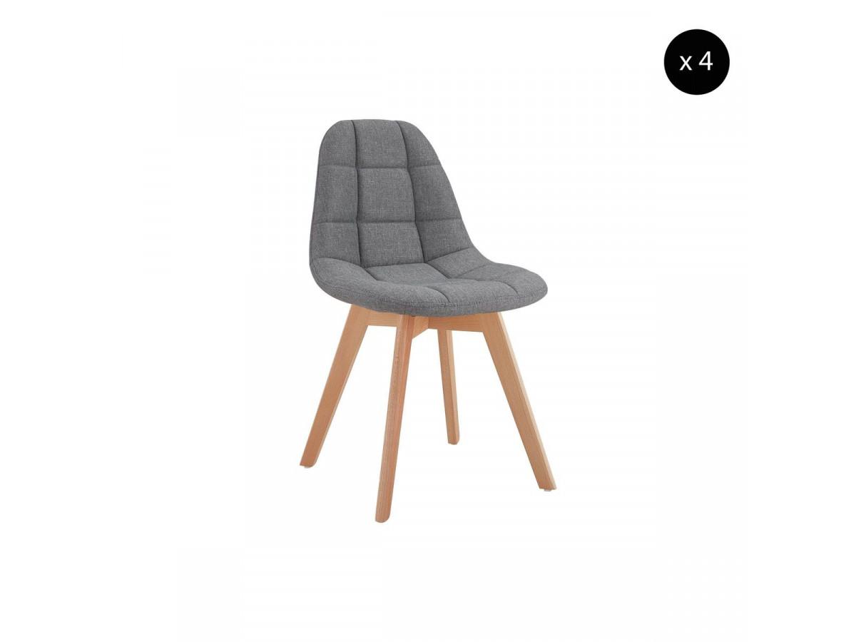 lot de 4 chaises en tissu gris marius