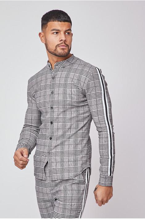 chemise a carreaux et bandes noires et blanches brentiny paris