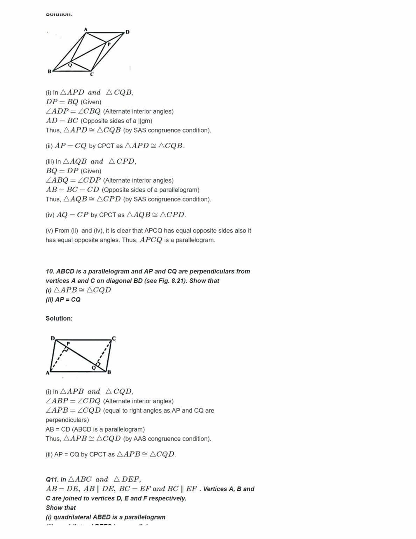 Ncert Solutions For Class 9 Maths Chapter 8 Quadrilaterals Ex 8 1