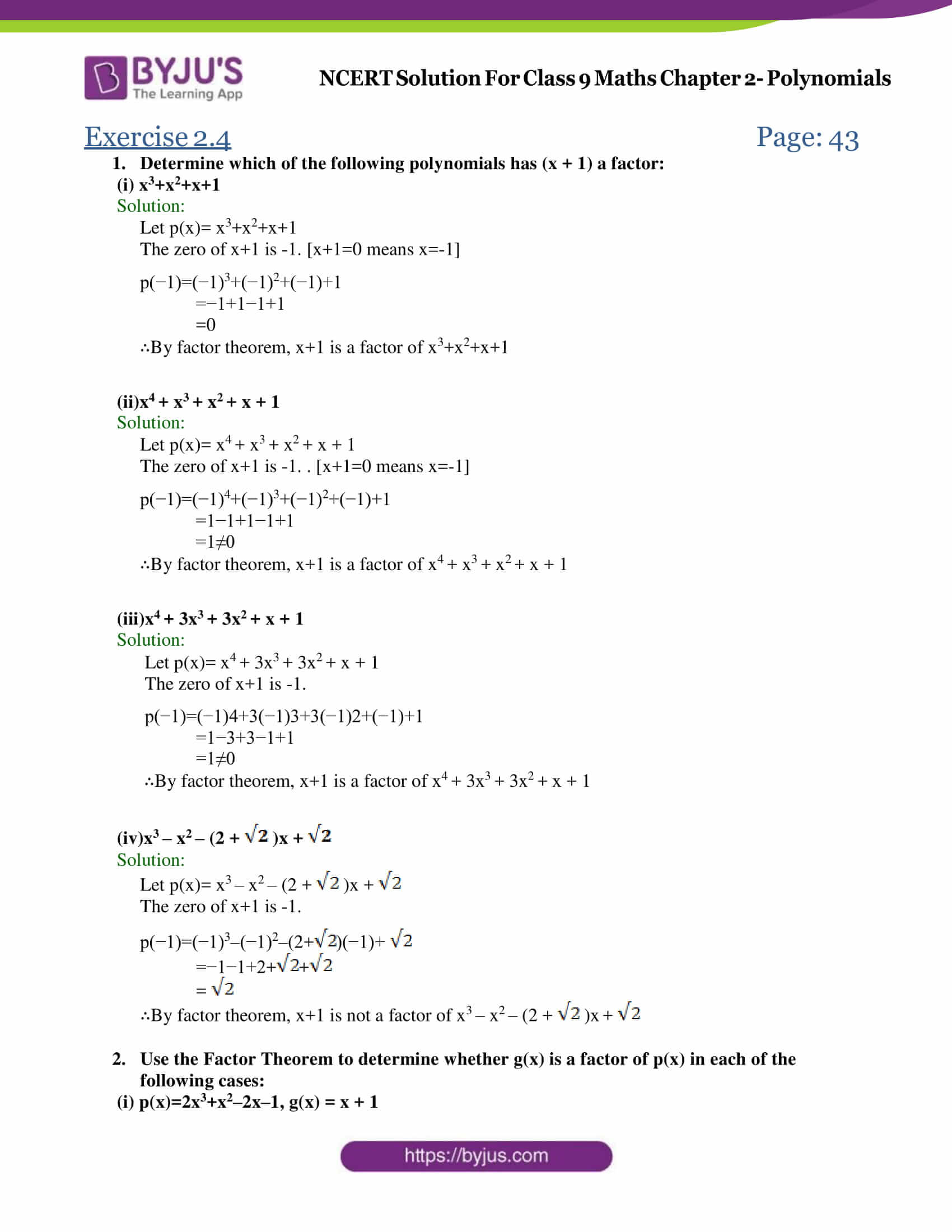 Ncert Solutions For Class 9 Maths Chapter 2 Polynomial Ex