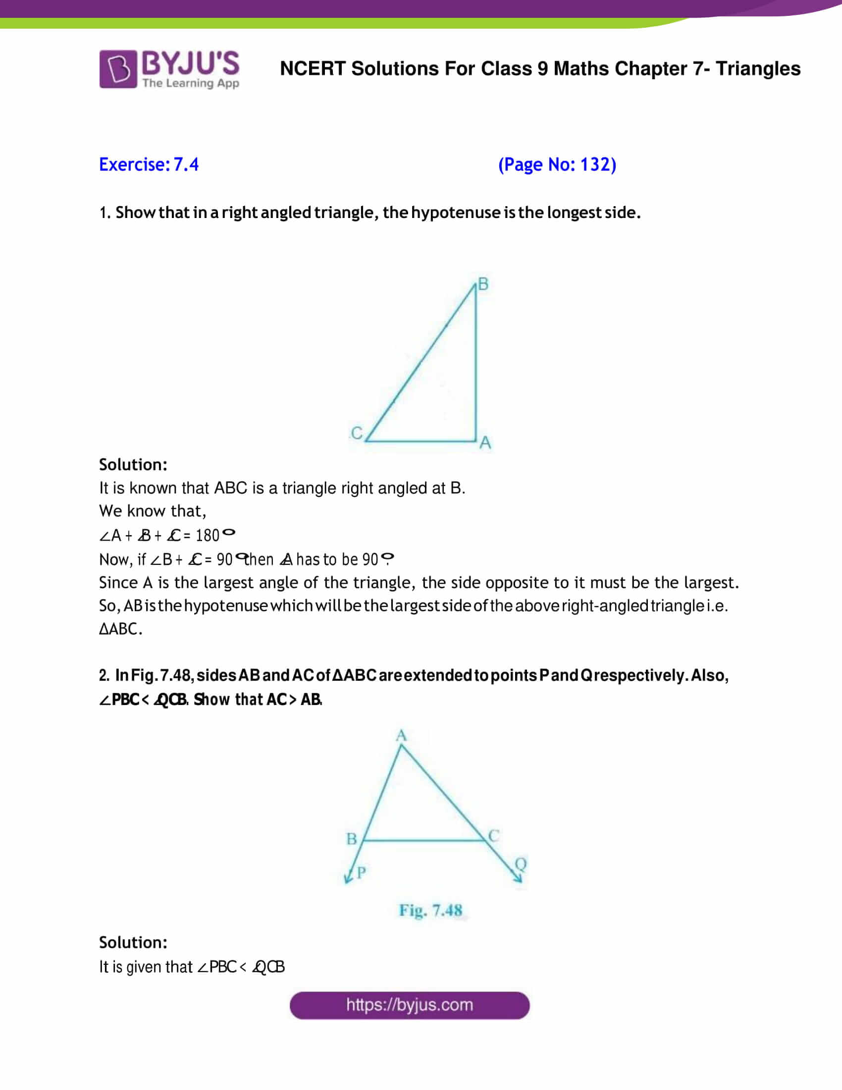 Ncert Solutions For Class 9 Maths Chapter 7 Geometry Of