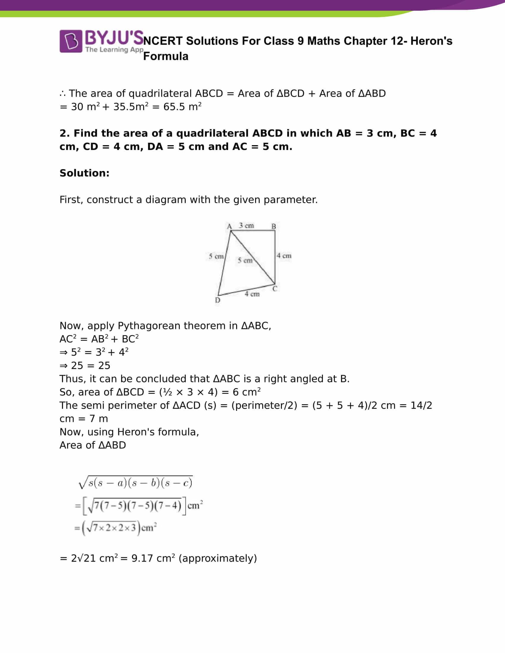 Ncert Solutions Class 9 Maths Chapter 12 Herons Formula