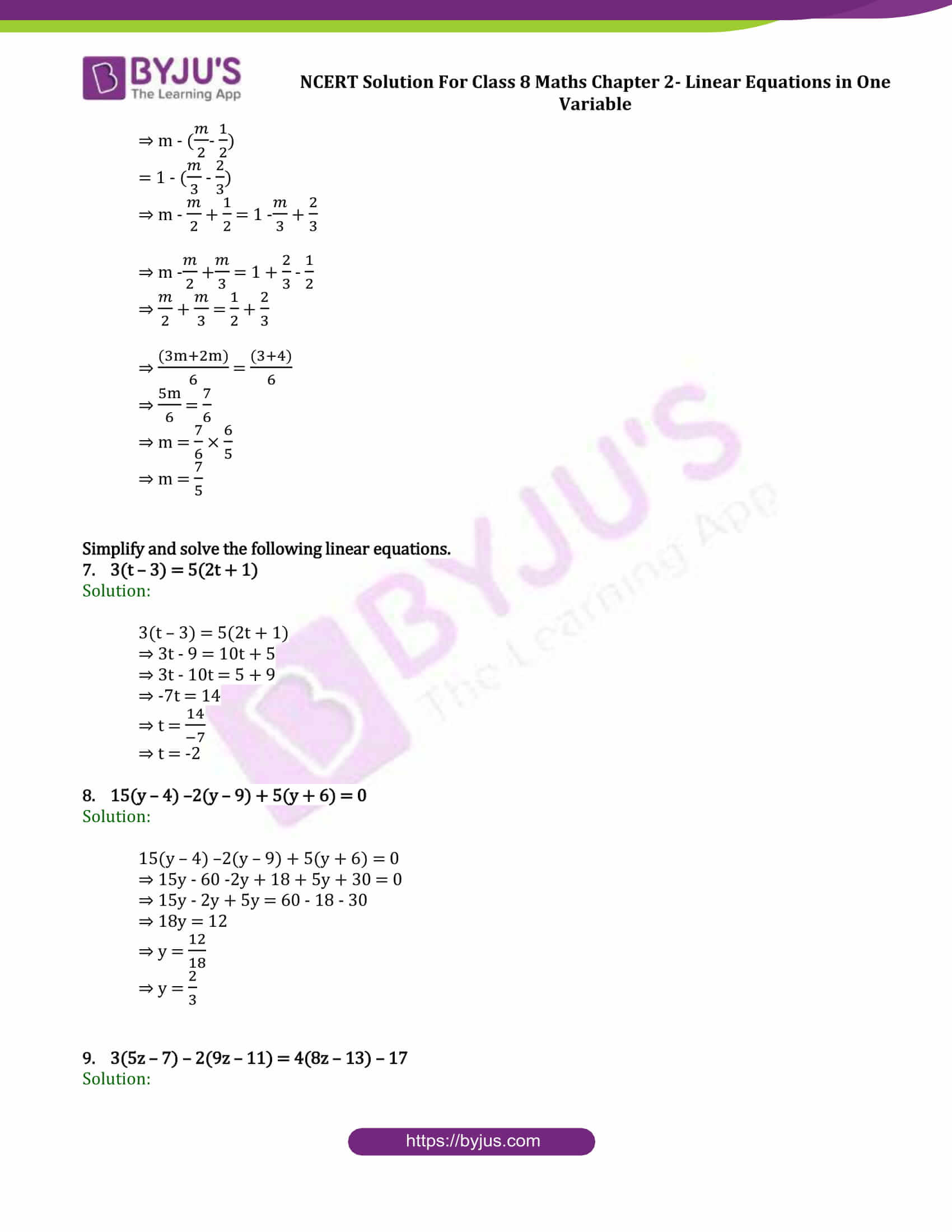 Ncert Solutions For Class 8 Maths Exercise 2 5 Chapter 2