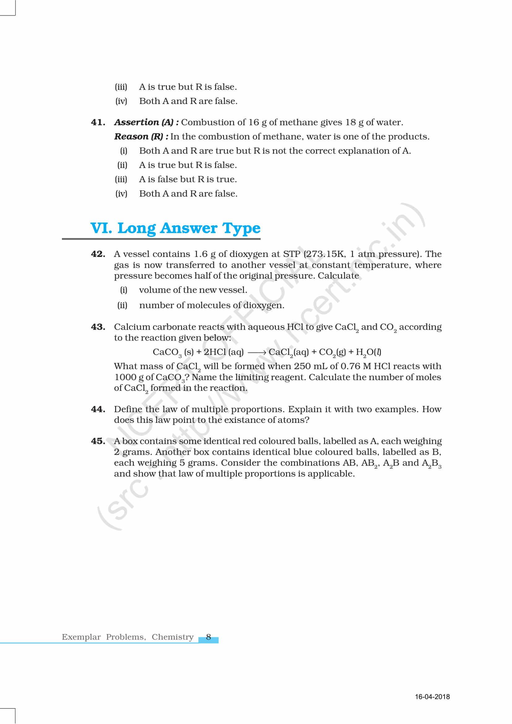 Ncert Exemplar Class 11 Chemistry Solutions Chapter 1