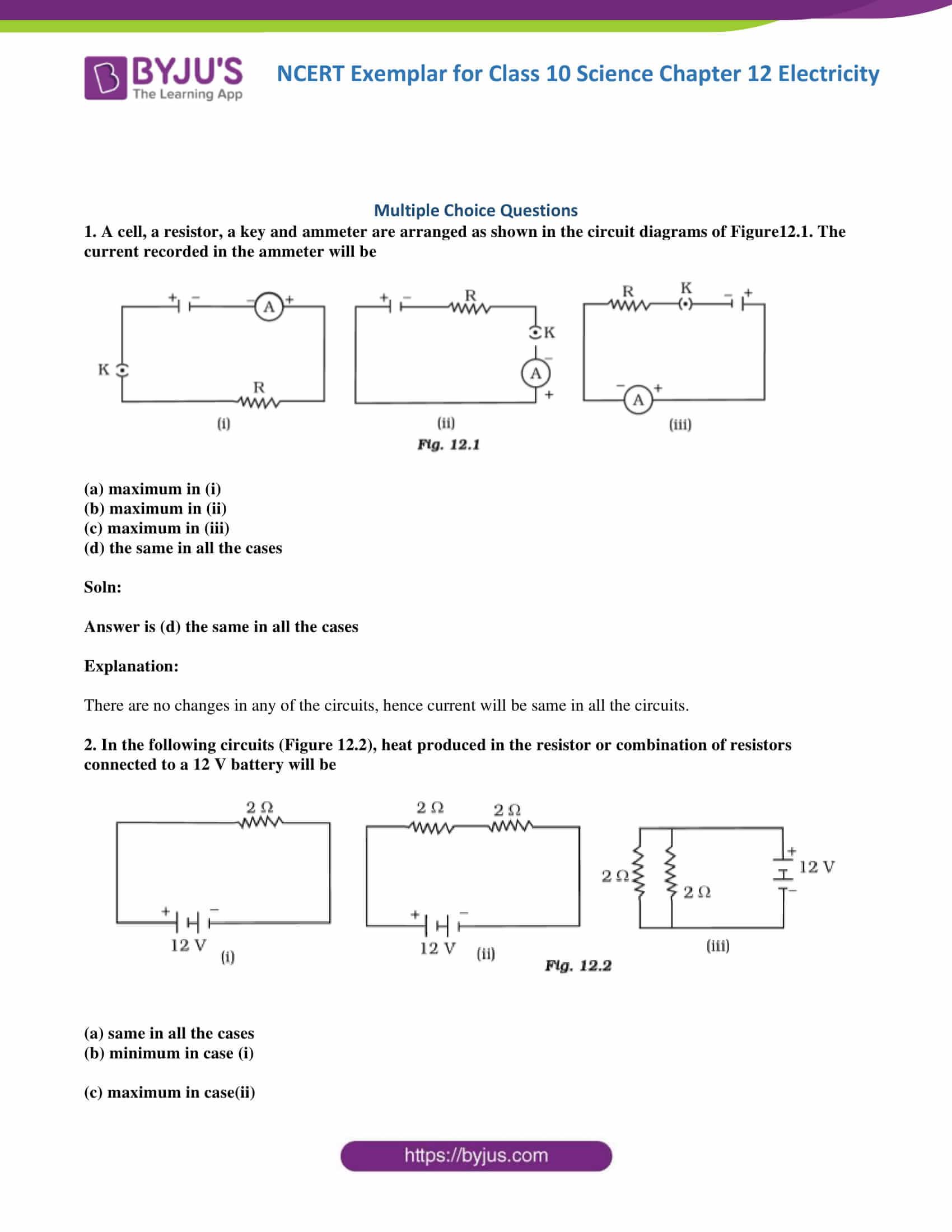 Ncert Exemplar Class 10 Science Solutions Chapter 12