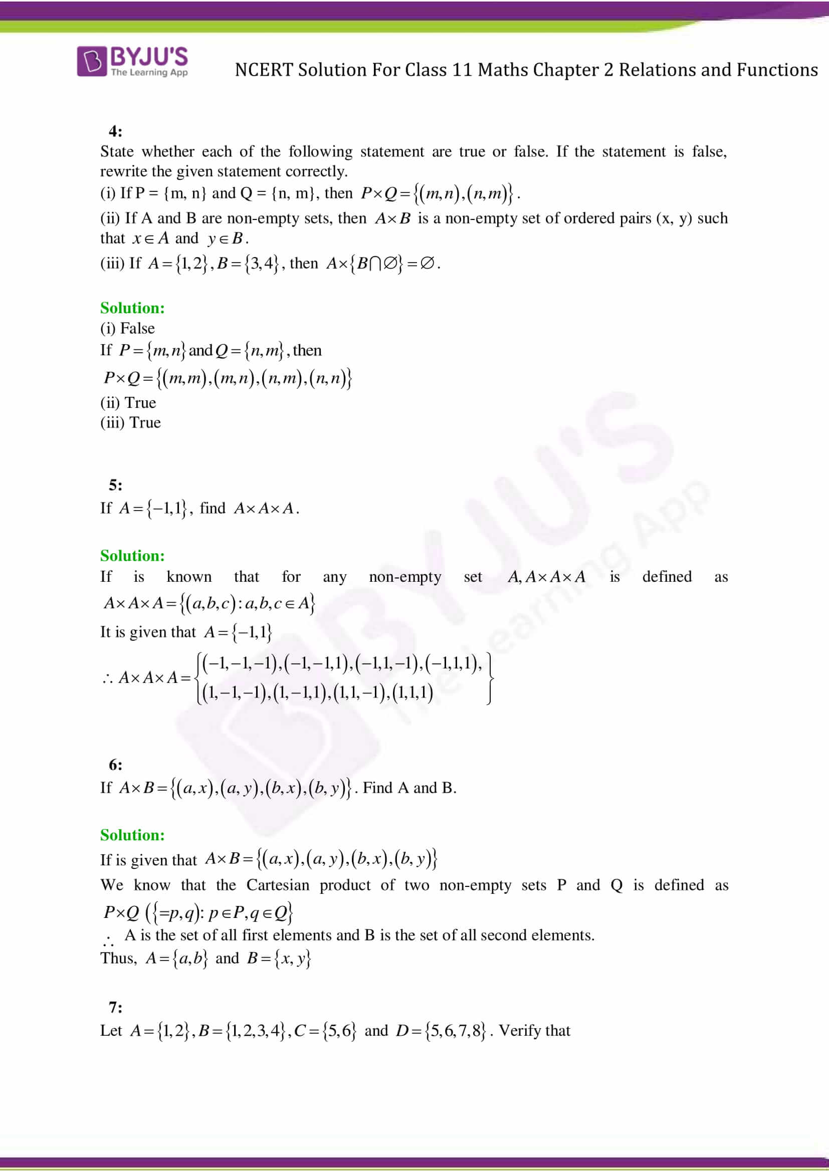 Ncert Solutions Class 11 Maths Chapter 2 Relations And