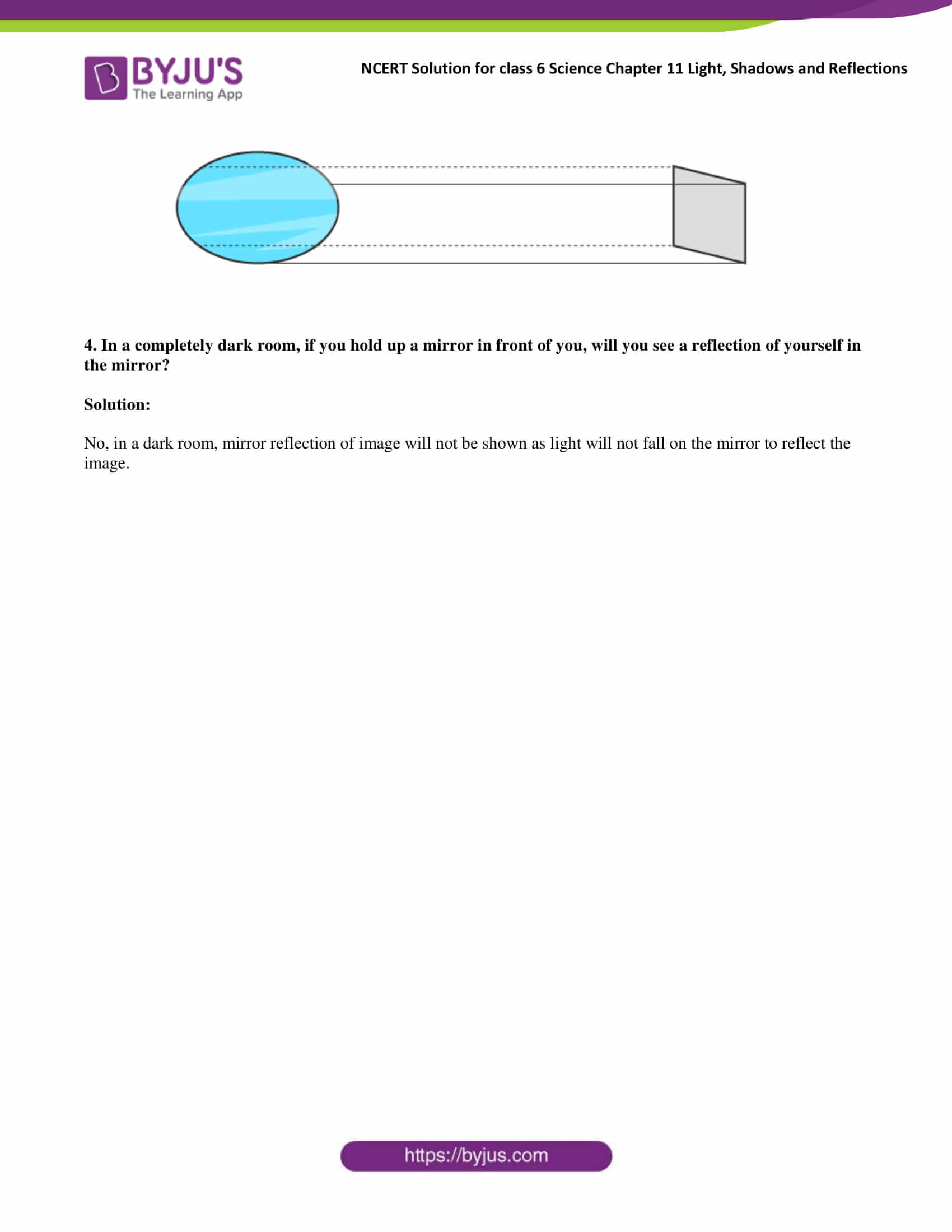 Ncert Solutions For Class 6 Science Chapter 11 Light