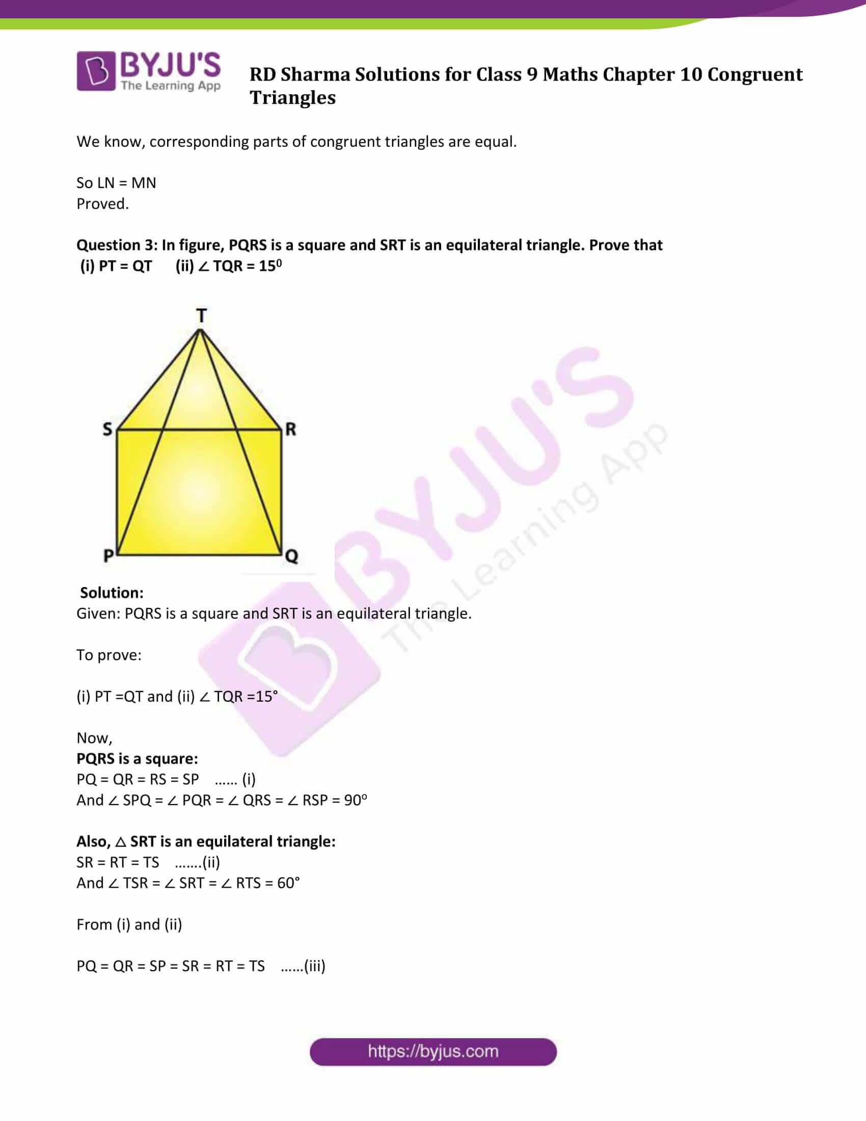 Rd Sharma Solutions Class 9 Chapter 10 Congruent Triangles
