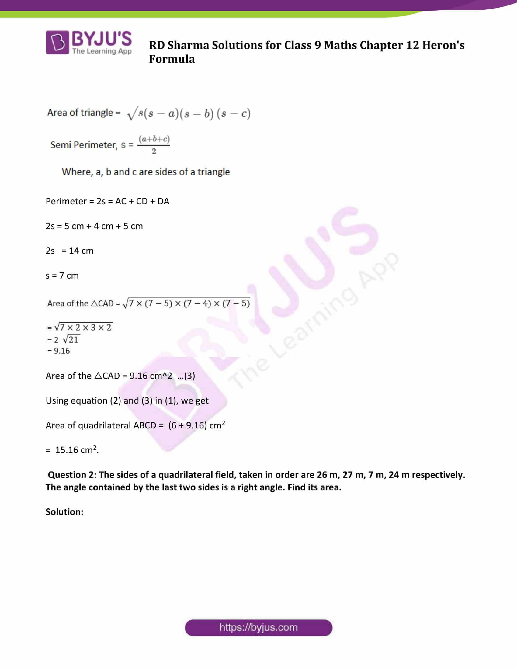 Rd Sharma Class 9 Chapter 12 Heron S Formula