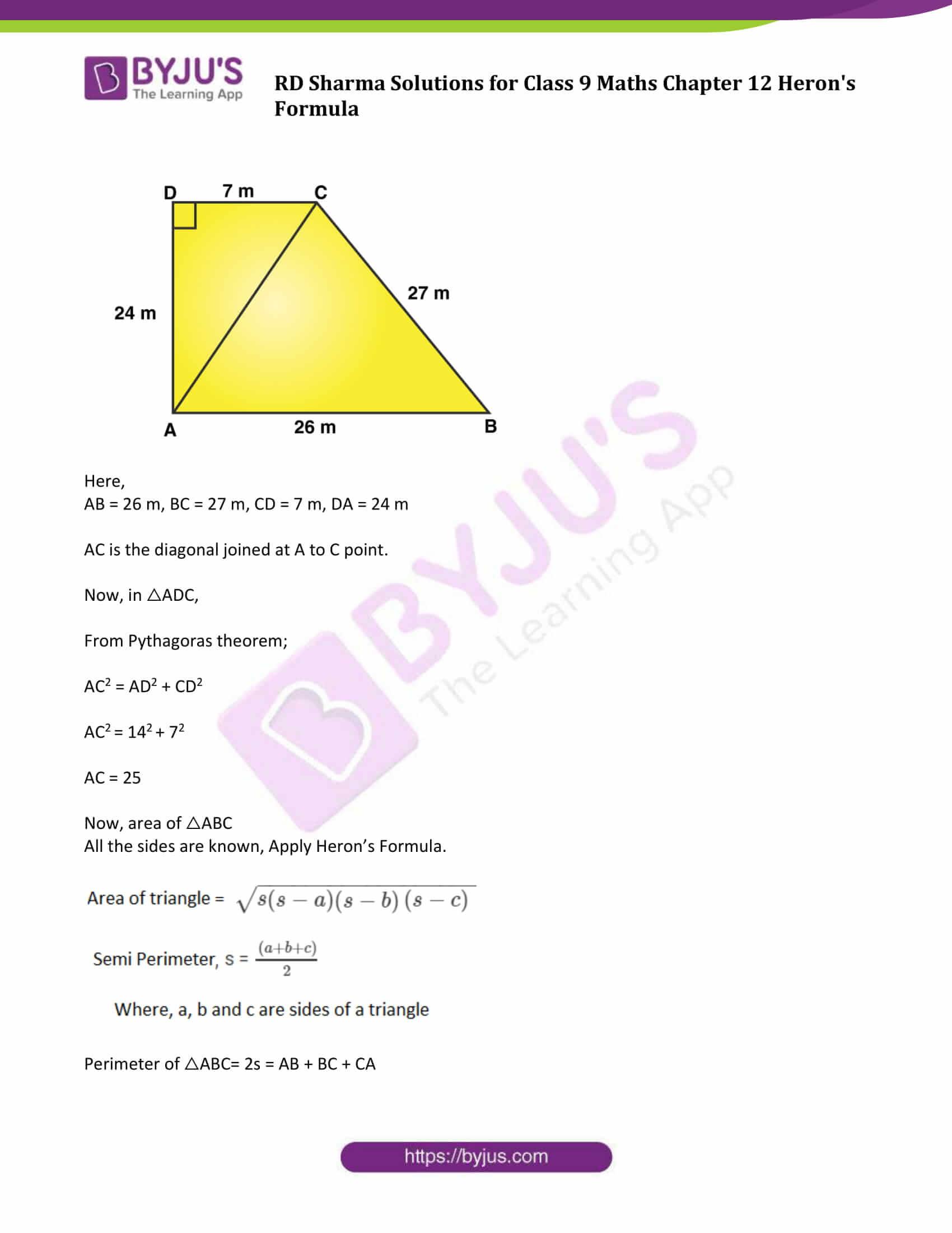 Rd Sharma Class 9 Solutions Maths Chapter 12 Heron S