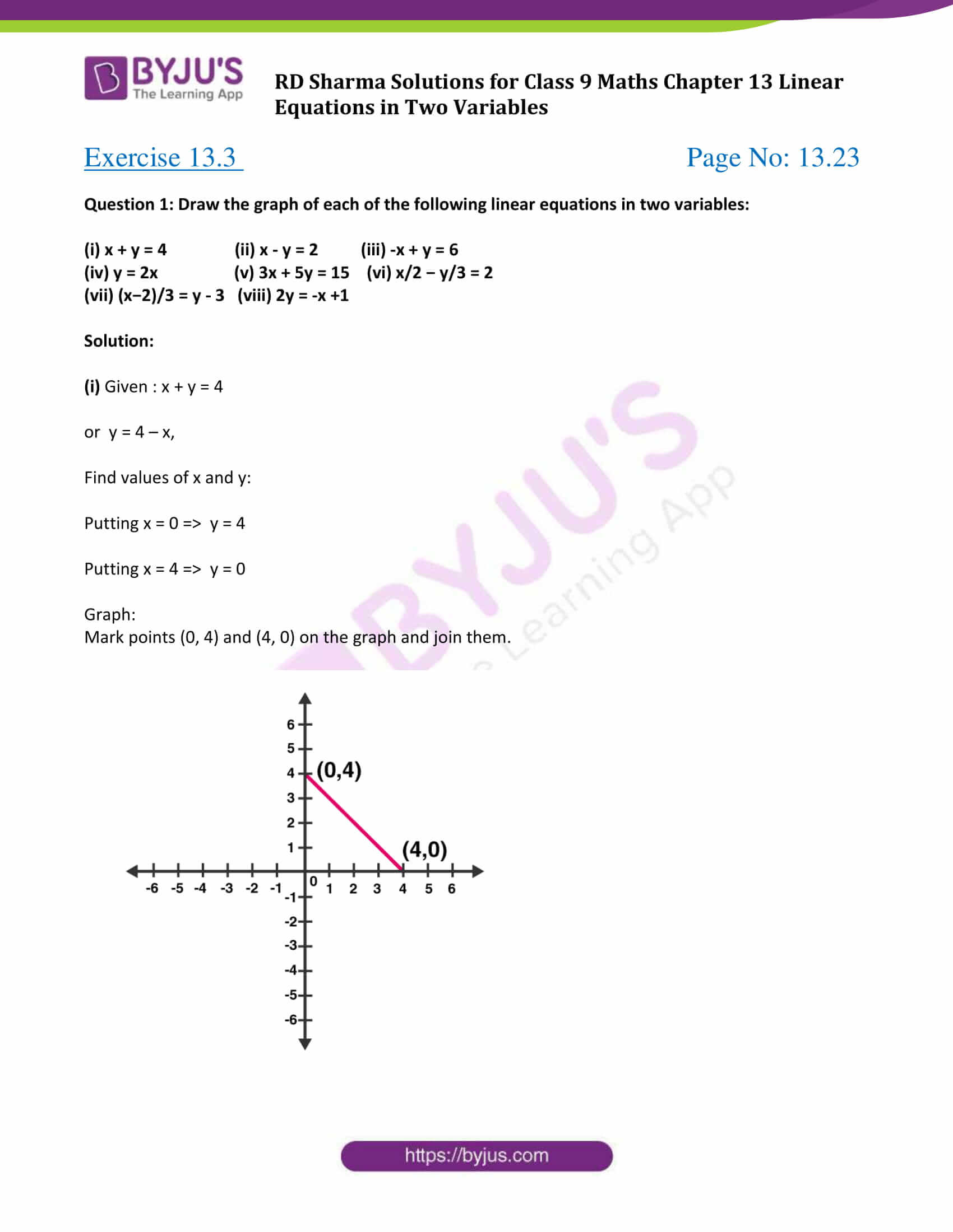 Rd Sharma Solutions Class 9 Chapter 13 Linear Equations In