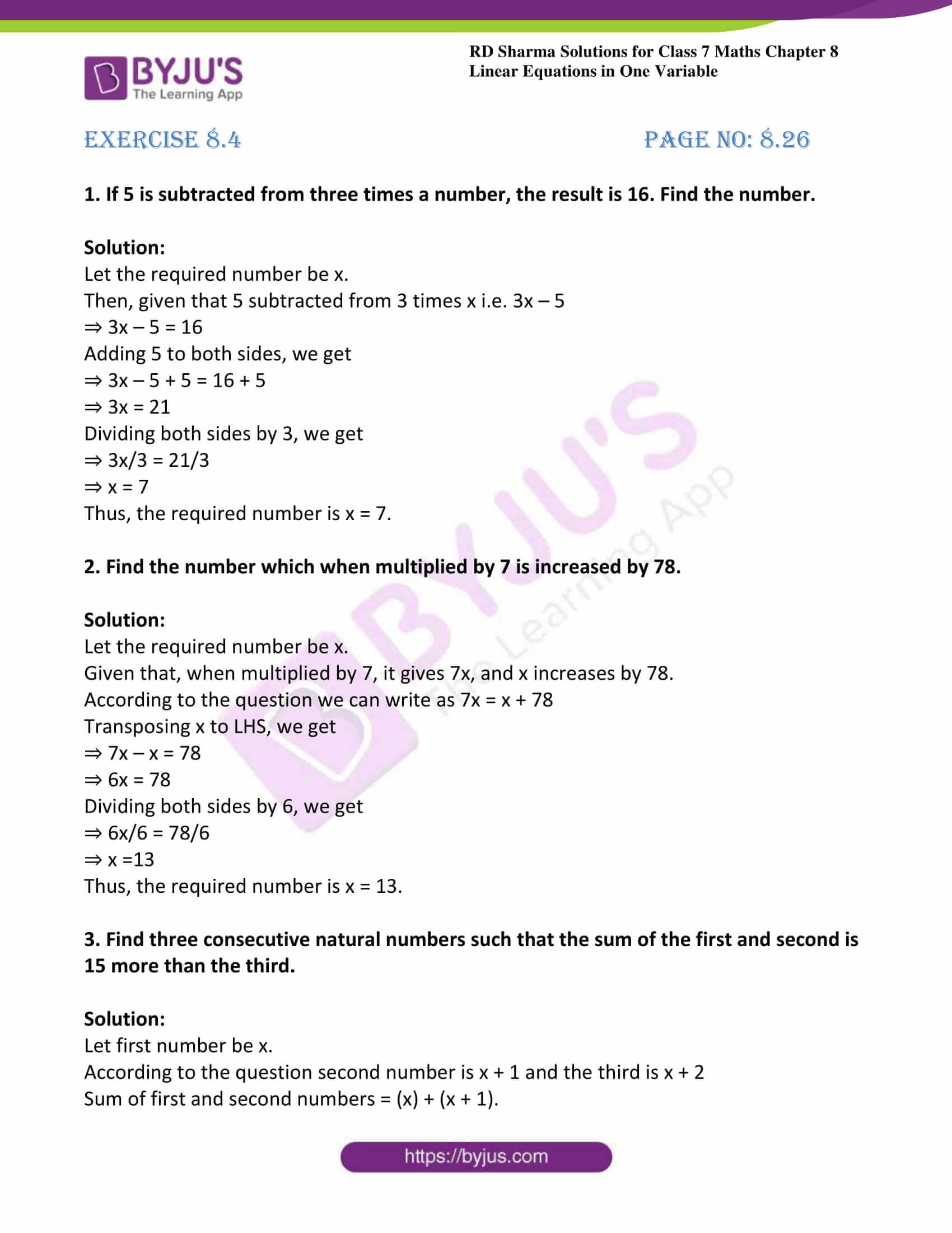 Rd Sharma Solutions For Class 7 Maths Chapter 8
