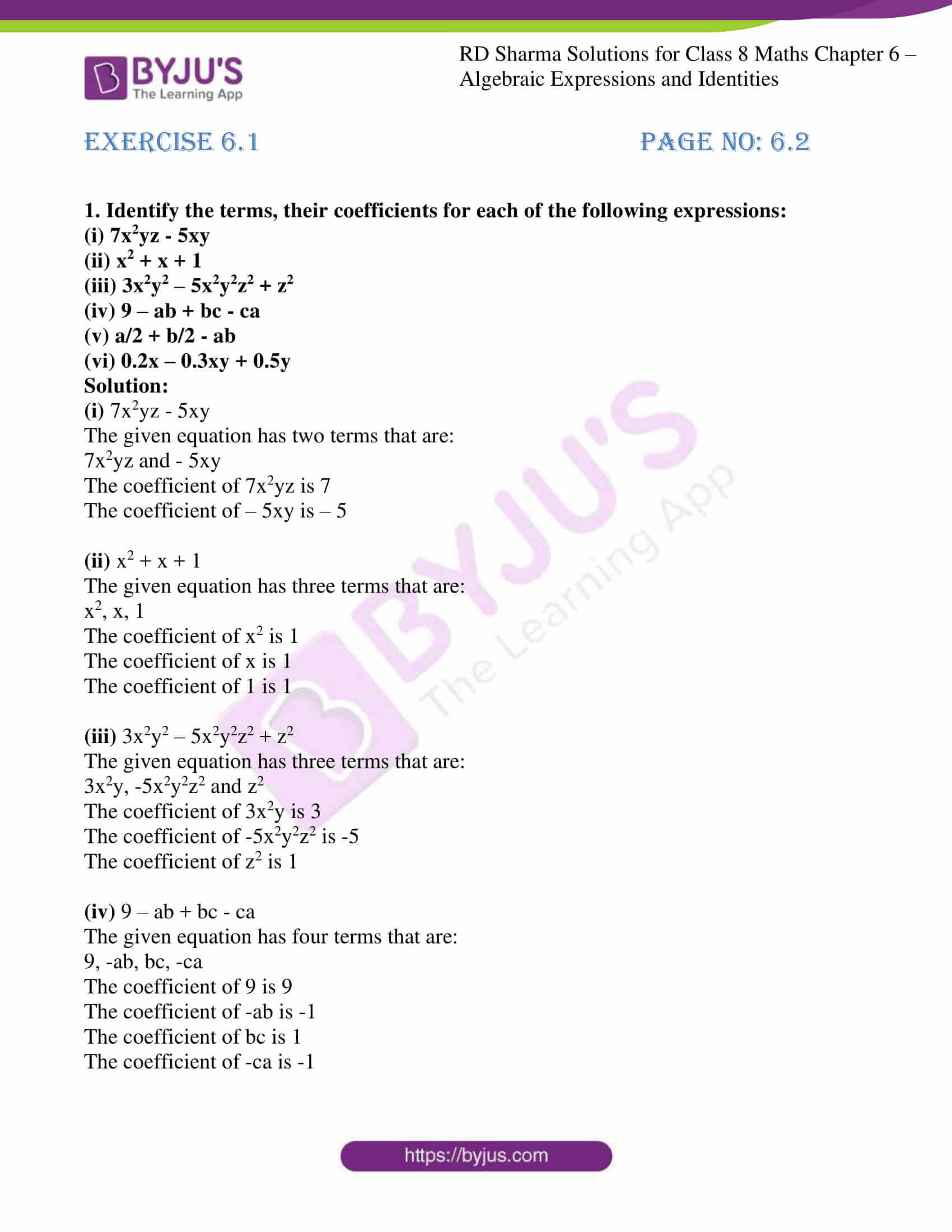 Rd Sharma Solutions For Class 8 Chapter 6