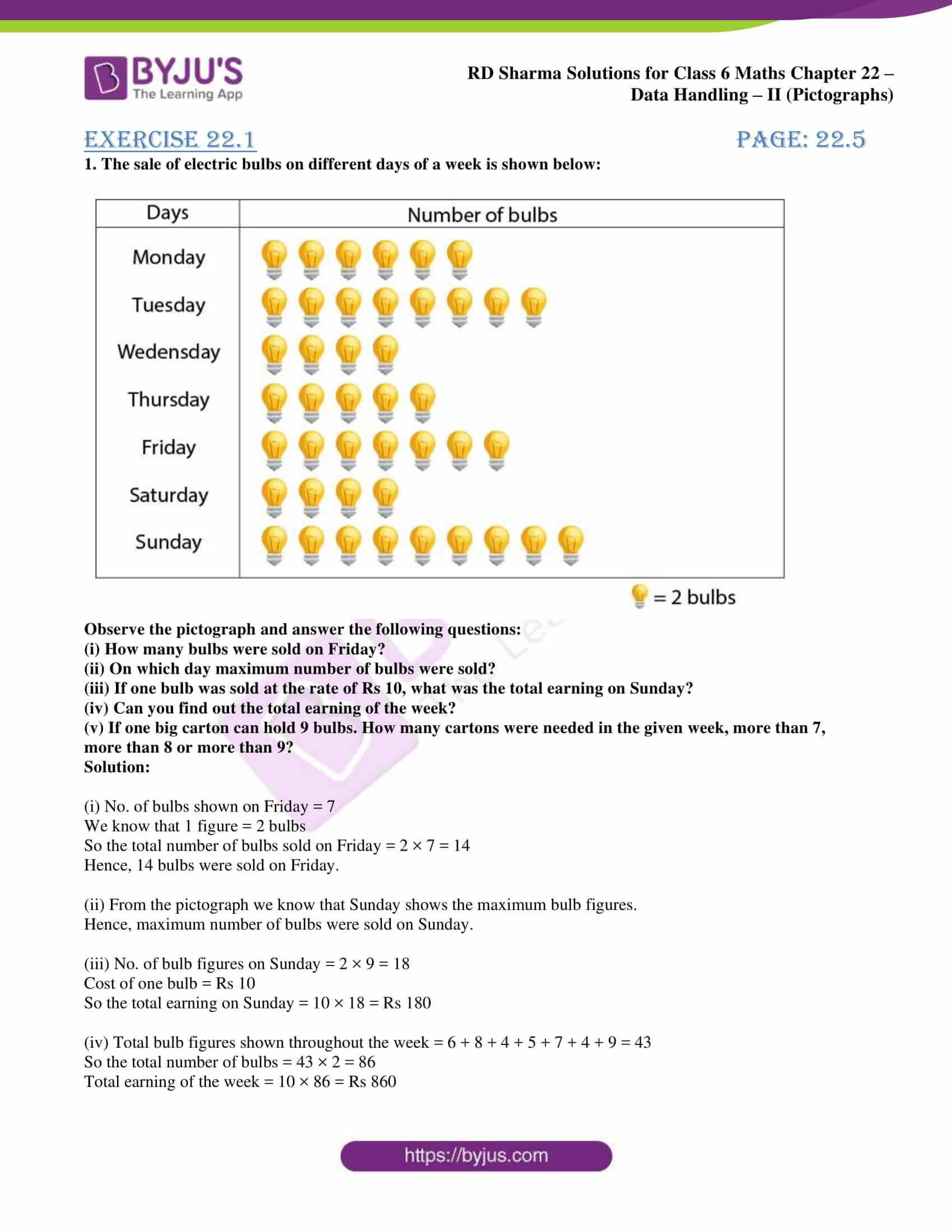 Rd Sharma Solutions For Class 6 Chapter 22 Data Handling