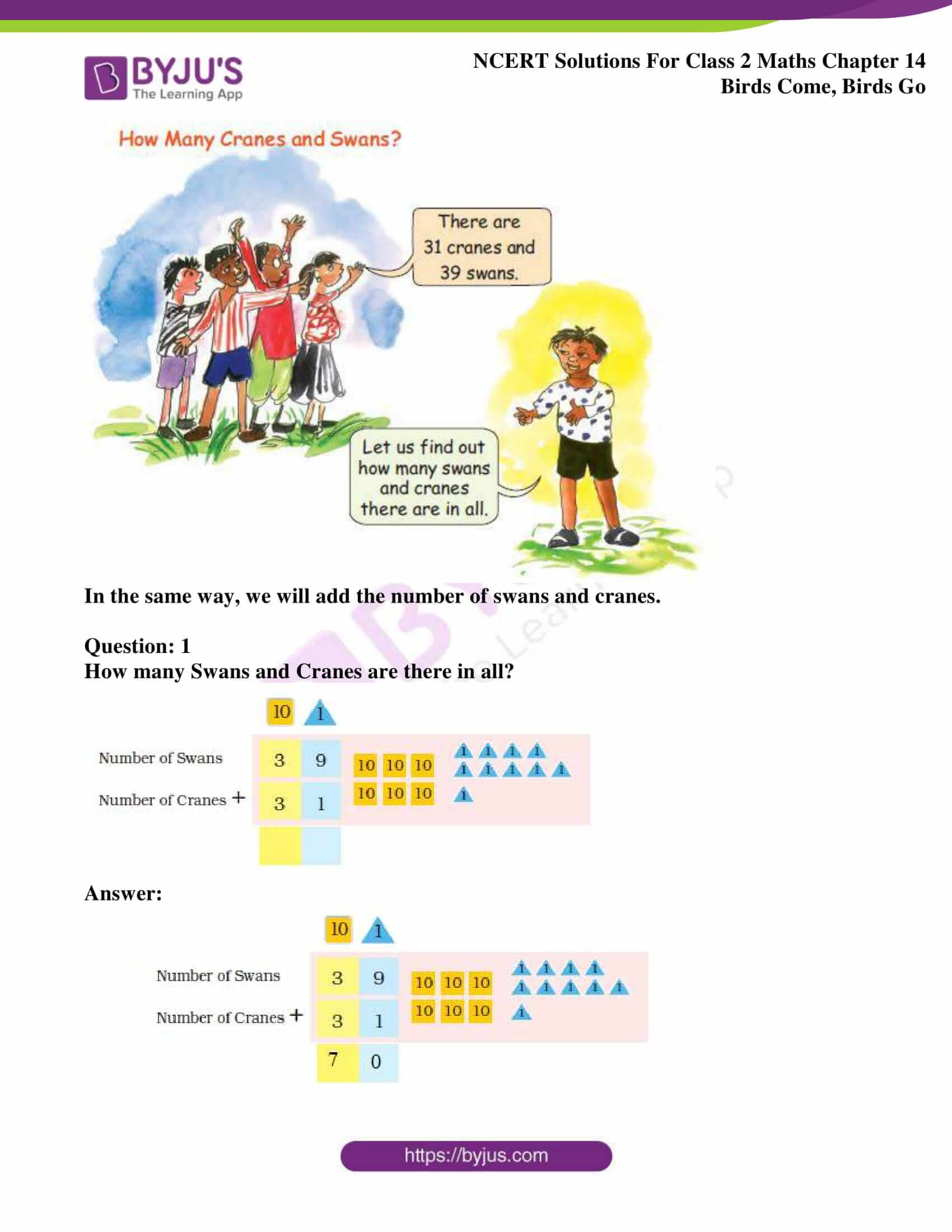 Ncert Solutions For Class 2 Maths Chapter 14 Birds Come