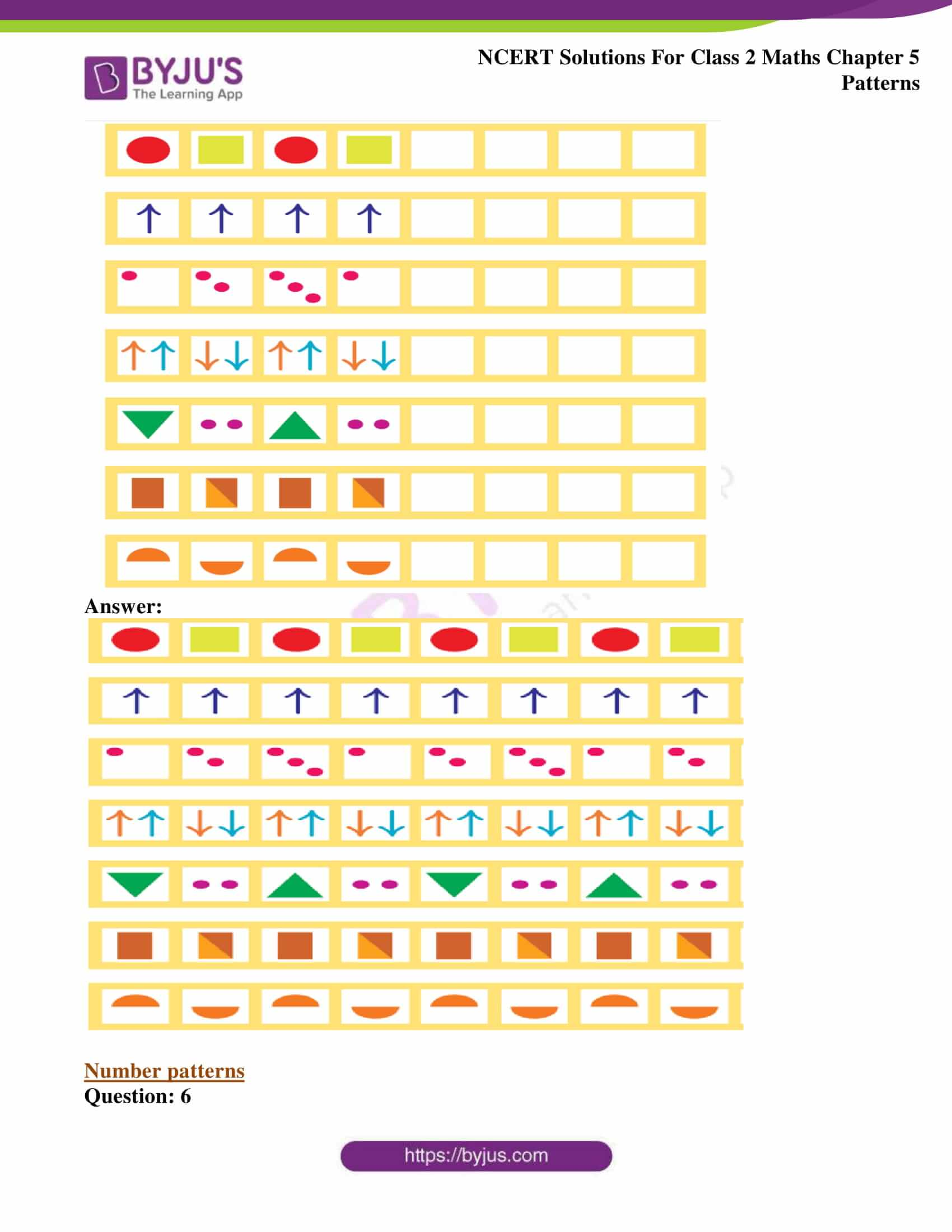 Ncert Solutions For Class 2 Maths Chapter 5 Patterns Avail