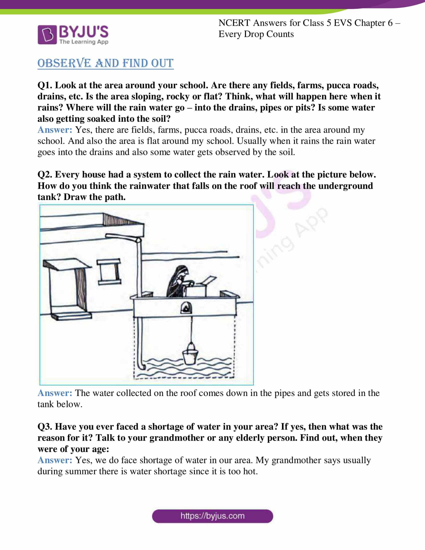 Ncert Solutions Class 5 Evs Chapter 6 Every Drop Counts