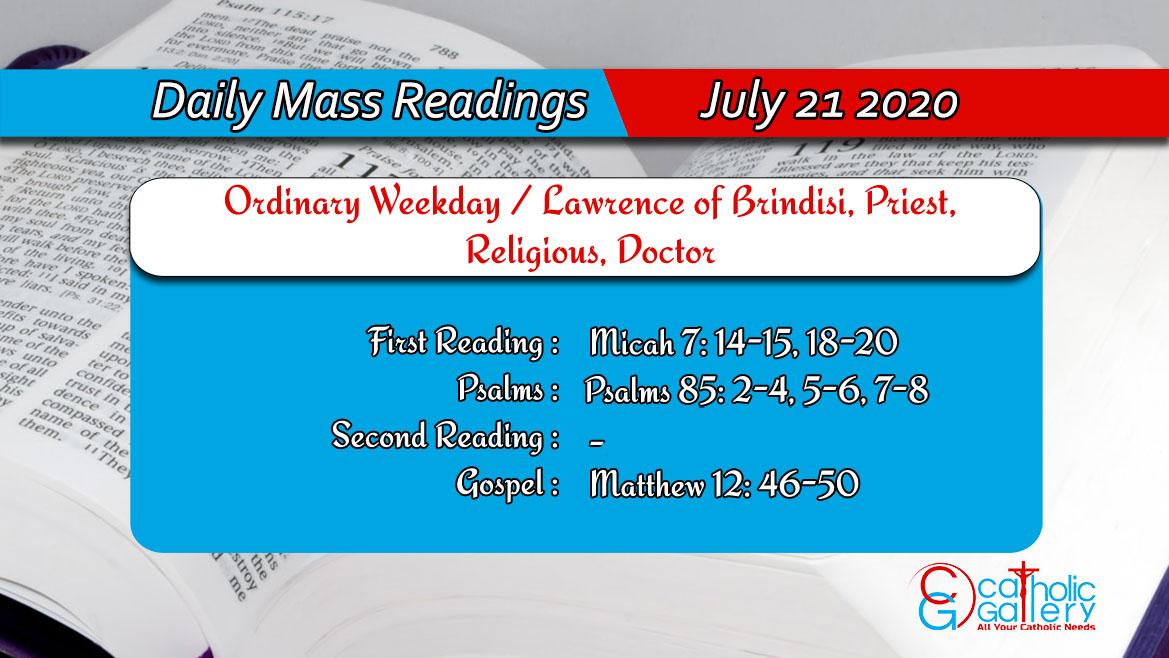 Catholic Daily Mass Readings Tuesday 21st July 2020
