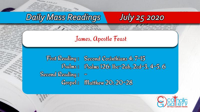 Catholic Daily Mass Readings 25th July 2020 Saturday