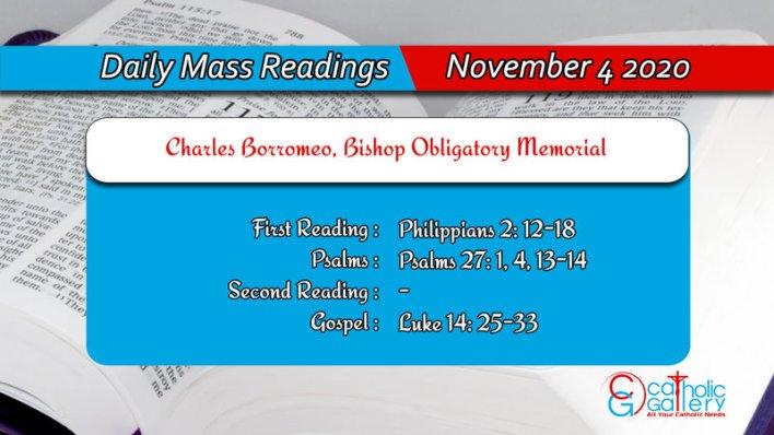 Catholic Online Daily Mass Reading 4th November 2020 Today Wednesday