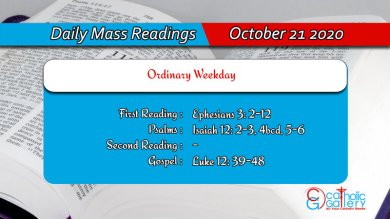 Catholic Daily Mass Readings 21st October 2020 Today Wednesday