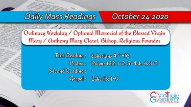 Catholic Daily Mass Readings 24th October 2020 Today Saturday