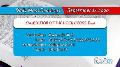 Catholic Daily Mass Readings 14th September 2020 Today Monday