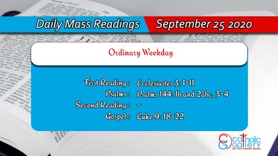 Catholic Daily Mass Readings 25th September 2020 Today Friday
