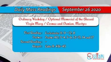 Catholic Daily Mass Readings 26th September 2020 Today Saturday